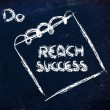 Must reach success, message on memo on blackboard — Stock Photo