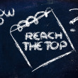 Постер, плакат: How to reach the top message on memo on blackboard