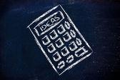 Ideas calculator on blackboard — Zdjęcie stockowe