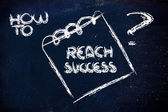 How to reach success, message on memo on blackboard — Stok fotoğraf