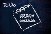 Must reach success, message on memo on blackboard — Stock Photo