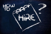 How to hire, message on memo on blackboard — Stock Photo