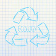 Green economy: recycle simbol on paper notebook — Stock Photo #35491041