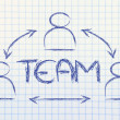 Teamwork, design with group of collaborative co-workers — Stock Photo