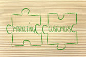 Marketing and customers,jigsaw puzzle design — Stock Photo