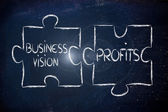 Business vision and profits,jigsaw puzzle design — Stock Photo