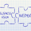 Business vision and investments,jigsaw puzzle design — Stok fotoğraf