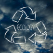 Green economy: recycle symbol with sky pattern — Stock Photo