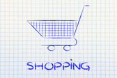 Shopping cart, symbol of marketing techniques and strategy — Foto Stock