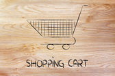 Shopping cart, symbol of marketing techniques and strategy — Foto de Stock
