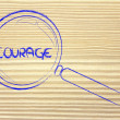 Finding courage, magnifying glass design — Foto de Stock