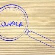 Finding courage, magnifying glass design — Stock Photo