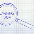Finding a winning idea, magnifying glass design — Stock Photo