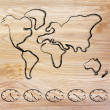 Stock Photo: World map and time zone clocks, business going global