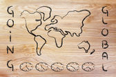 World map and time zone clocks, business going global — Stock Photo