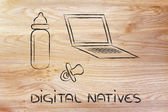 Digital natives: funny design with laptop, feeding bottle and pa — Stock Photo