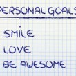 List of personal goals: smile, love and be awesome — Stock Photo