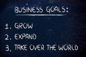 Elenco degli obiettivi aziendali: crescere, espandersi, conquistare il mondo — Foto de Stock