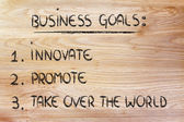 List of business goals: innovate, promote, take over the world — Zdjęcie stockowe