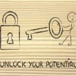 Stock Photo: Unlock your potential, funny character with key and lock