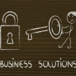 Стоковое фото: Finding best business solution, funny girl with key and lock
