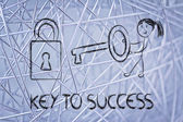 Find the key to success, funny girl character being successful — Stock Photo