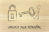 Unlock your potential, funny character with key and lock — Stock Photo