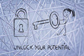 Unlock your potential, funny girl being successful — Stock Photo