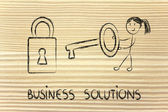 Finding the best business solution, funny girl with key and lock — Stock Photo