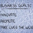 List of business goals: innovate, promote, take over world — Stock fotografie #40406517