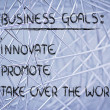 List of business goals: innovate, promote, take over world — Photo #40406517