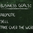 List of business goals: promote, sell, take over world — Foto de stock #40407249