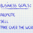List of business goals: promote, sell, take over world — Foto de stock #40407425