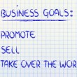 List of business goals: promote, sell, take over world — Stok Fotoğraf #40407425