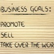 List of business goals: promote, sell, take over world — Stok Fotoğraf #40407493