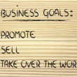 List of business goals: promote, sell, take over world — Stock fotografie #40407493