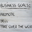 List of business goals: promote, sell, take over world — Stok Fotoğraf #40407689