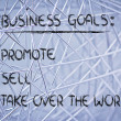 List of business goals: promote, sell, take over world — Foto de stock #40407773