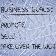 List of business goals: promote, sell, take over world — Stock fotografie #40407773
