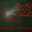 Malware threats and internet security, skull and pc — Stock Photo #40409125