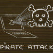 Malware threats and internet security, skull and pc — Stock Photo #40409245