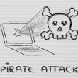 Malware threats and internet security, skull and pc — Stock Photo #40409573