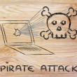 Malware threats and internet security, skull and pc — Stock Photo #40409649