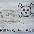 Malware threats and internet security, skull and pc — Stock Photo #40409753