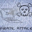 Malware threats and internet security, skull and pc — Stock Photo #40409829