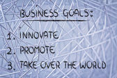 List of business goals: innovate, promote, take over the world — 图库照片