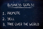 List of business goals: promote, sell, take over the world — Stock Photo