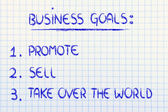 List of business goals: promote, sell, take over the world — 图库照片