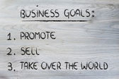 List of business goals: promote, sell, take over the world — Zdjęcie stockowe