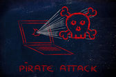 Malware hot och internet security, skalle och pc — Stockfoto